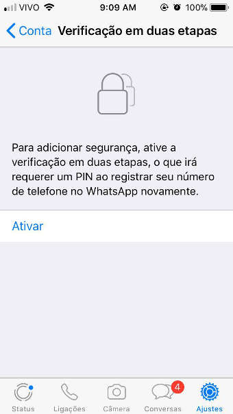 ative a 2FA do Whatsapp no Iphone