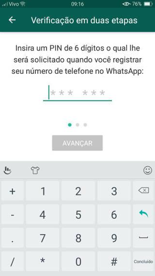 whatsapp verificação em duas etapas como fazer